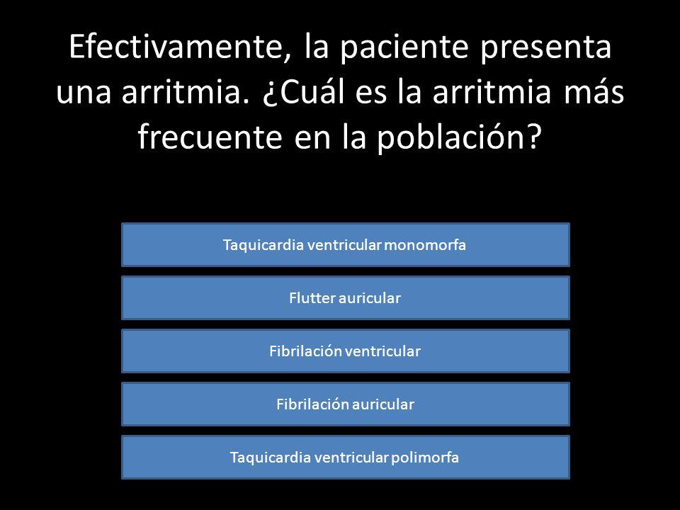 ¿Qué alteración electrocardiográfica presenta el ECG de la paciente? Es un ECG normal Bloqueo de rama Ver ECG de nuevo Una arritmia