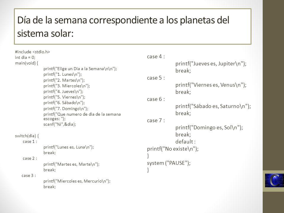 Día de la semana correspondiente a los planetas del sistema solar: #include int dia = 0; main(void) { printf(
