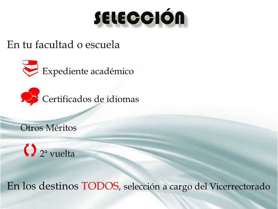 En tu facultad o escuela Expediente académico Certificados de idiomas Otros Méritos 2ª vuelta En los destinos TODOS, selección a cargo del Vicerrectorado