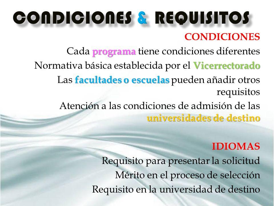 CONDICIONES programa Cada programa tiene condiciones diferentes Vicerrectorado Normativa básica establecida por el Vicerrectorado facultades o escuela