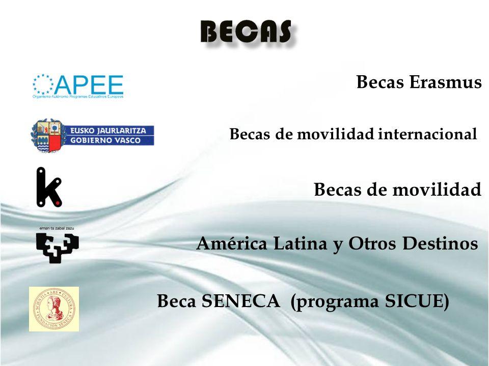 Becas Erasmus Becas de movilidad internacional Becas de movilidad América Latina y Otros Destinos Beca SENECA (programa SICUE)