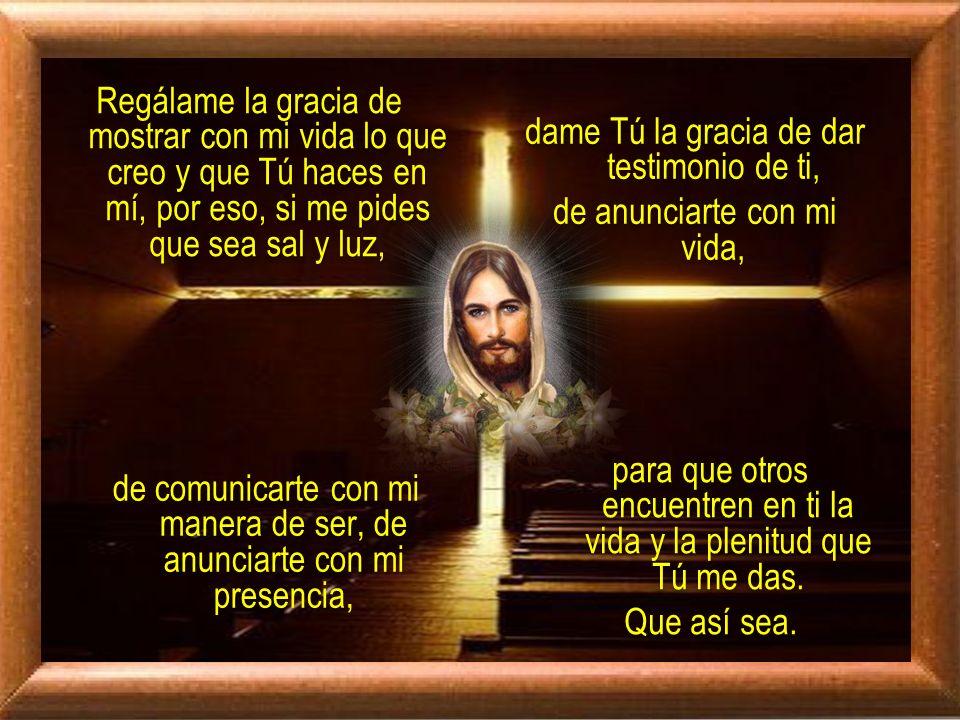 Señor Jesús, Tú que me invitas a ser sal y luz del mundo, Tú que me comprometes en tu misión, Tú que me invitas a ser testigo tuyo, ayúdame a vivir cada vez con más convicción mi adhesión a ti, para que de esa manera pueda contagiar a otros todo lo que Tú haces en mí.