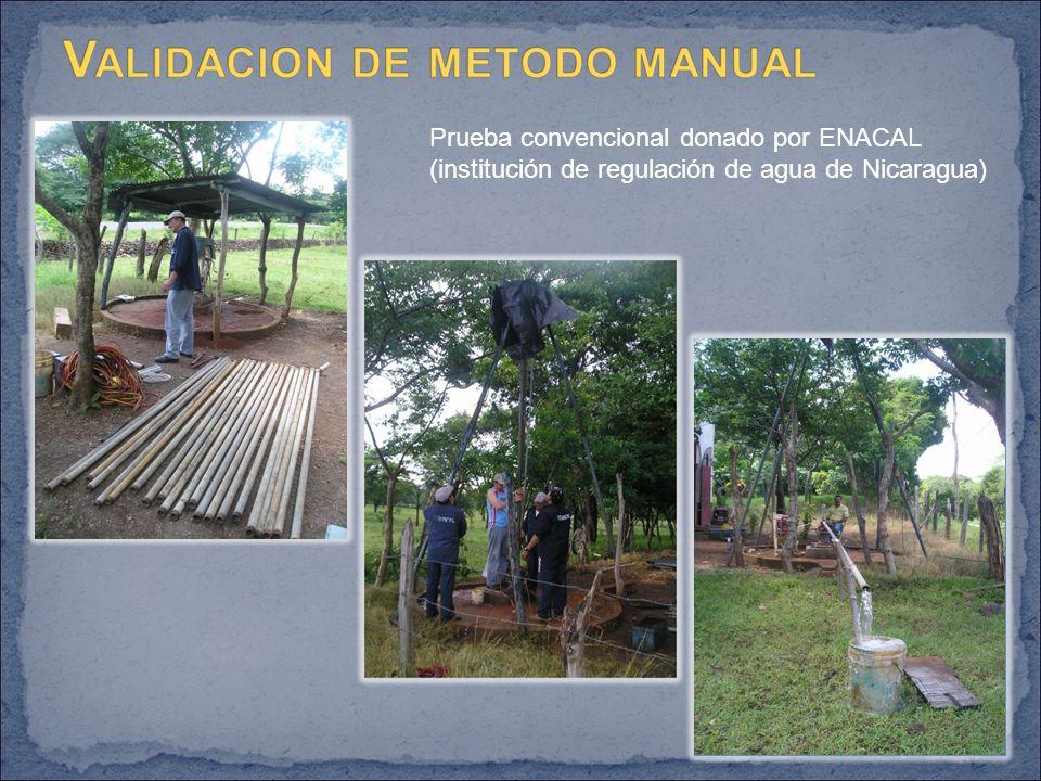 Prueba convencional donado por ENACAL (institución de regulación de agua de Nicaragua)