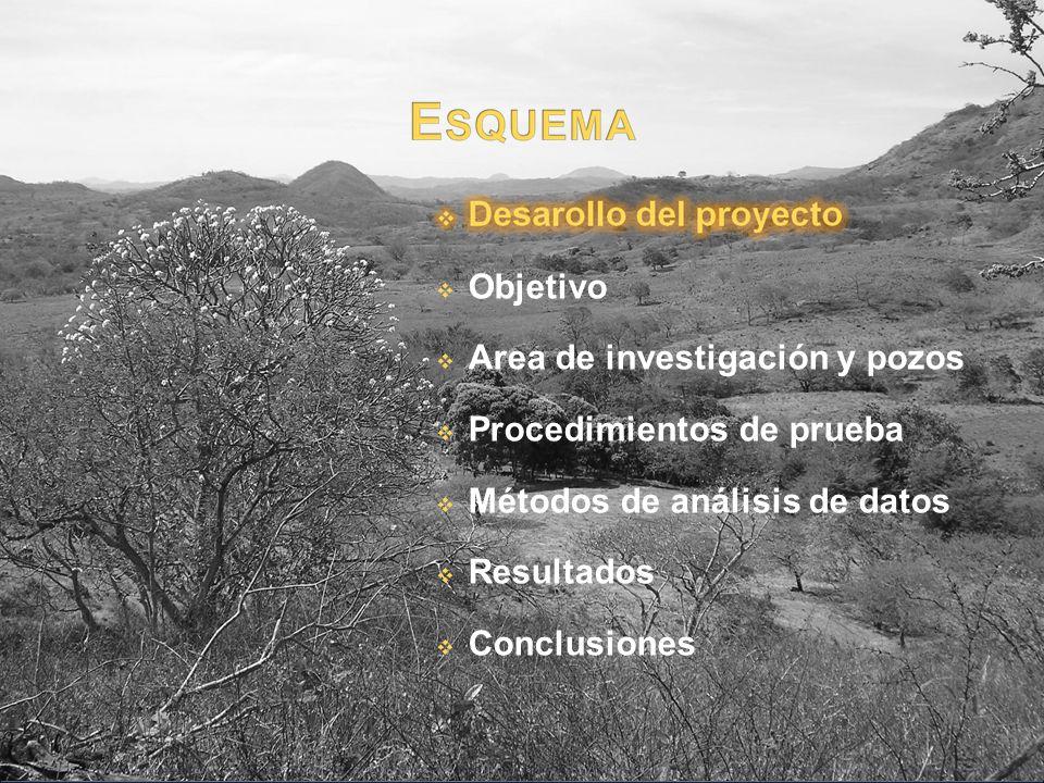 Objetivo Area de investigación y pozos Procedimientos de prueba Métodos de análisis de datos Resultados Conclusiones