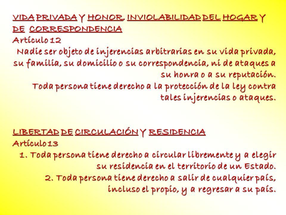 VIDA PRIVADA Y HONOR, INVIOLABILIDAD DEL HOGAR Y DE CORRESPONDENCIA Artículo 12 Nadie ser objeto de injerencias arbitrarias en su vida privada, su fam