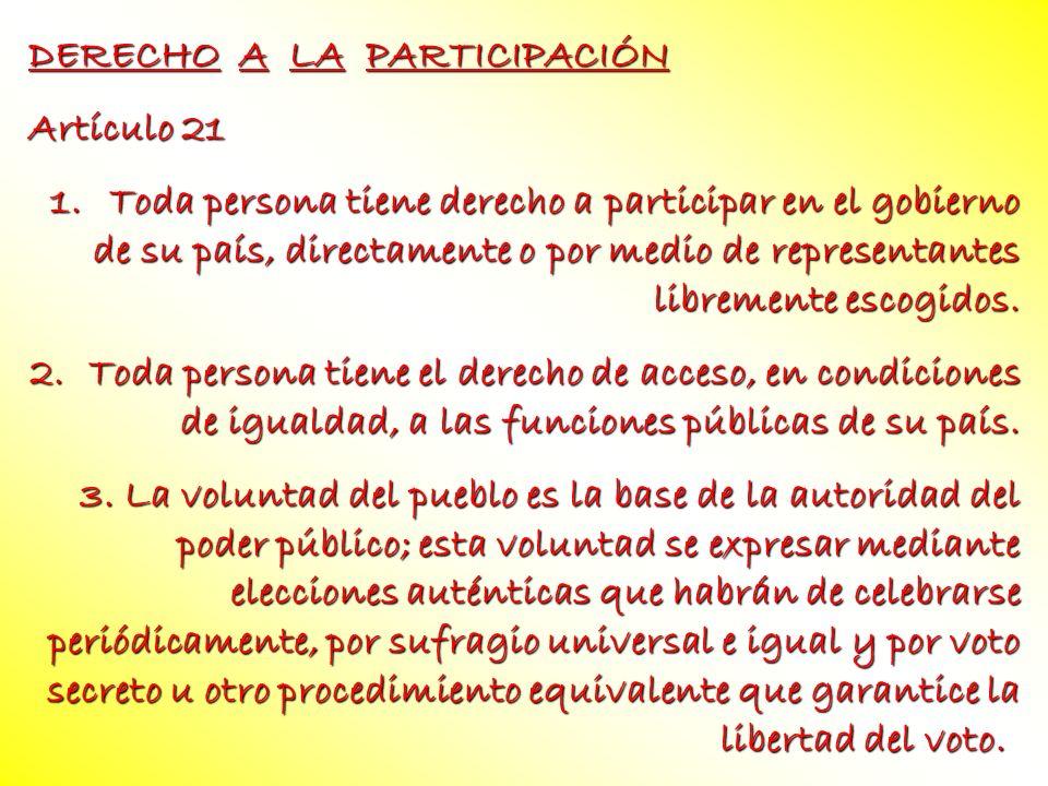 DERECHO A LA PARTICIPACIÓN Artículo 21 1.Toda persona tiene derecho a participar en el gobierno de su país, directamente o por medio de representantes
