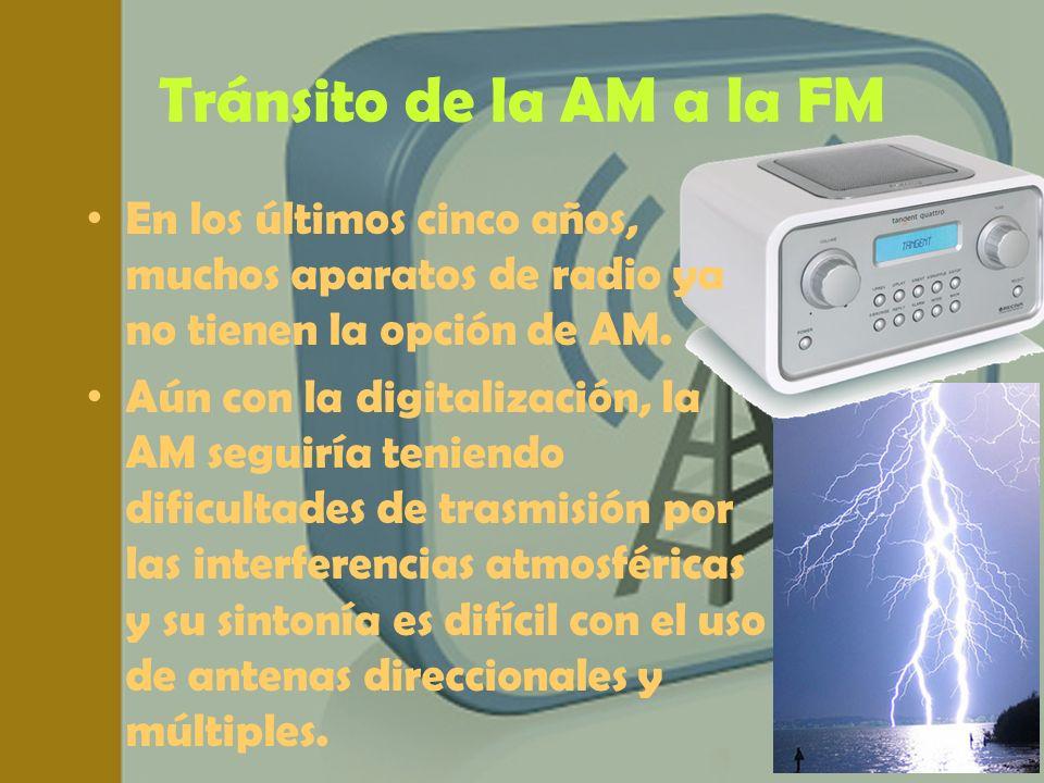 Tránsito de la AM a la FM En los últimos cinco años, muchos aparatos de radio ya no tienen la opción de AM. Aún con la digitalización, la AM seguiría