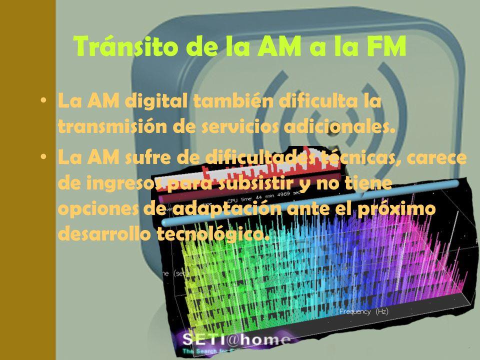 Tránsito de la AM a la FM La AM digital también dificulta la transmisión de servicios adicionales. La AM sufre de dificultades técnicas, carece de ing