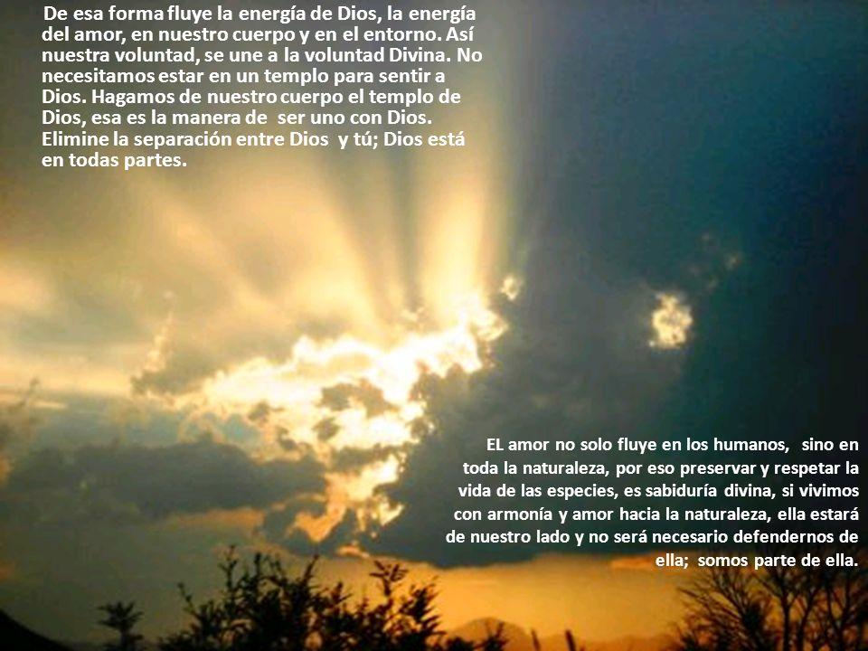 De esa forma fluye la energía de Dios, la energía del amor, en nuestro cuerpo y en el entorno.