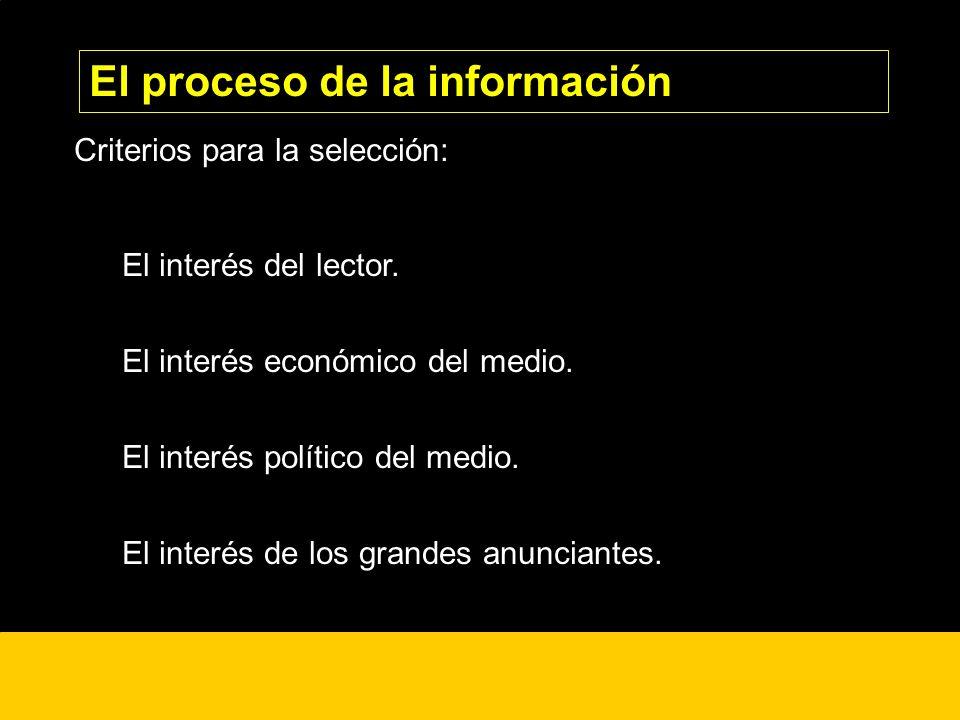 ¿? Criterios para la selección: El interés del lector. El interés económico del medio. El interés político del medio. El interés de los grandes anunci