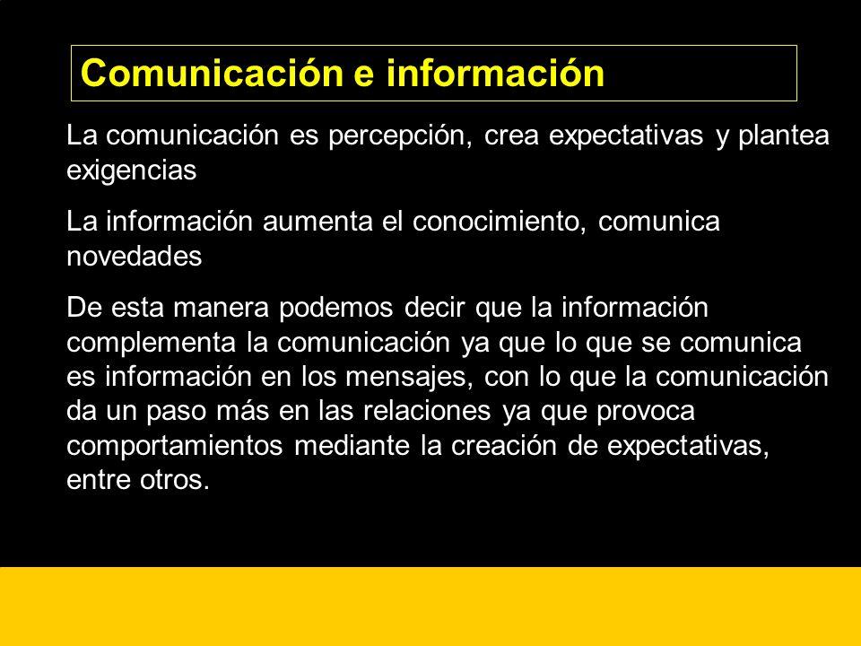 ¿? La comunicación es percepción, crea expectativas y plantea exigencias La información aumenta el conocimiento, comunica novedades De esta manera pod