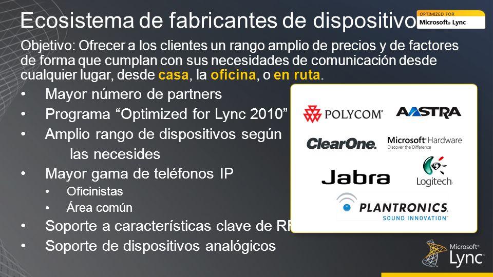 Ecosistema de fabricantes de dispositivos Objetivo: Ofrecer a los clientes un rango amplio de precios y de factores de forma que cumplan con sus neces