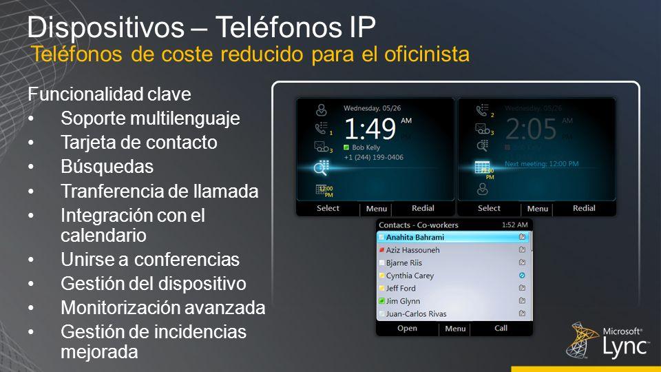 Dispositivos – Teléfonos IP Funcionalidad clave Soporte multilenguaje Tarjeta de contacto Búsquedas Tranferencia de llamada Integración con el calenda