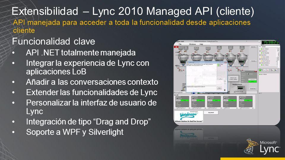 Extensibilidad – Lync 2010 Managed API (cliente) Funcionalidad clave API.NET totalmente manejada Integrar la experiencia de Lync con aplicaciones LoB