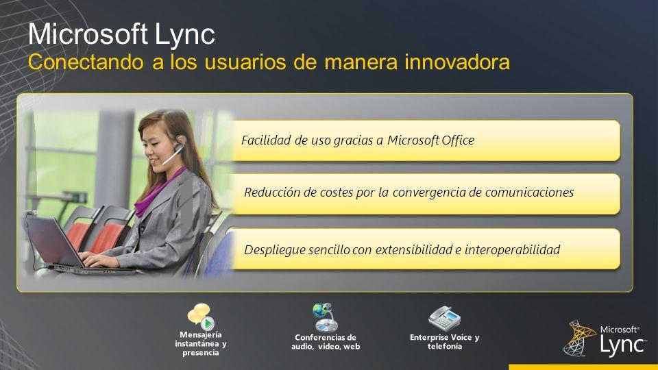 Microsoft Lync Conectando a los usuarios de manera innovadora Despliegue sencillo con extensibilidad e interoperabilidad Mensajería instantánea y pres