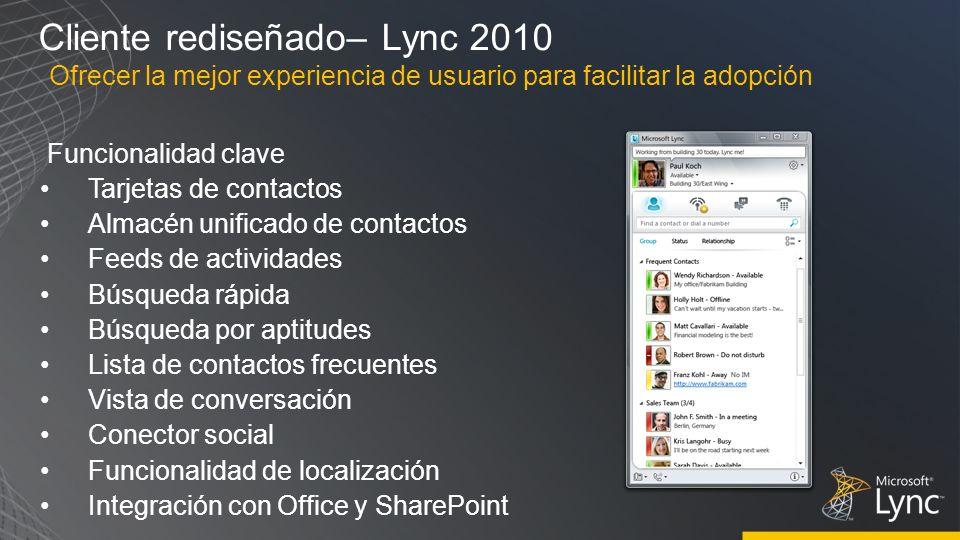 Cliente rediseñado– Lync 2010 Funcionalidad clave Tarjetas de contactos Almacén unificado de contactos Feeds de actividades Búsqueda rápida Búsqueda p