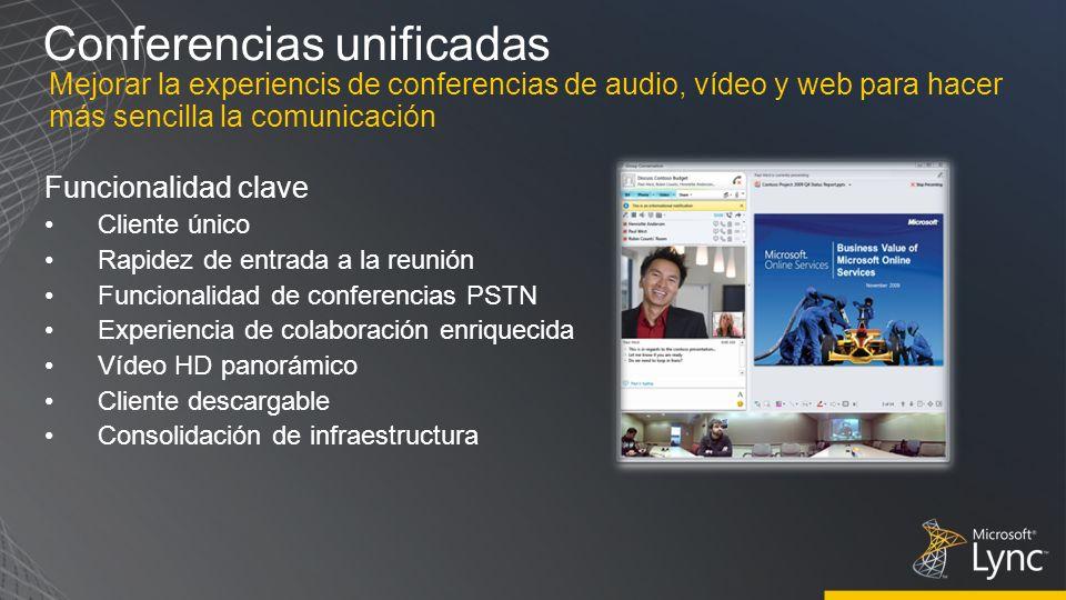 Conferencias unificadas Funcionalidad clave Cliente único Rapidez de entrada a la reunión Funcionalidad de conferencias PSTN Experiencia de colaboraci