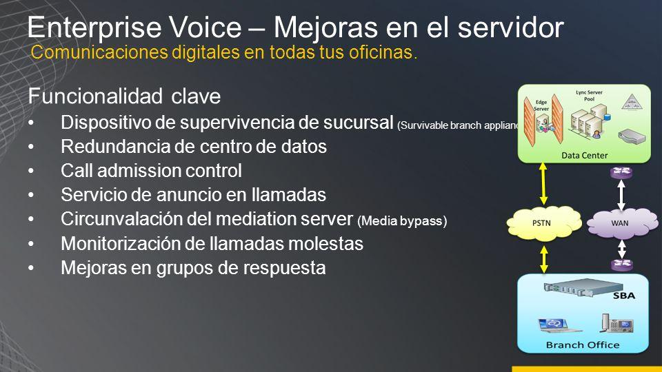 Enterprise Voice – Escenarios de despliegue de PBX e interoperabilidad Lync Server 2010 posibilidad múltiples opciones para utilizar la telefonía Reemplazar la centralita con la solución de UC completa de Microsoft Conectar a la RTC vía un troncal SIP o media gateway, y conectar a la PBX durante la transición Reemplaza r Mejorar la funcionalidad de la PBX con UC Teléfono de la PBX se mantiene durante la transición, en ocasiones con Simultaneous ringing para que suenen tanto el cliente Lync 2010 como el terminal telefónico Clic para llamar es una opción para que los usuarios inicien o contesten llamadas utilizando el teléfono de la PBX (RCC) con pérdida de funcionalidad como la movilidad.