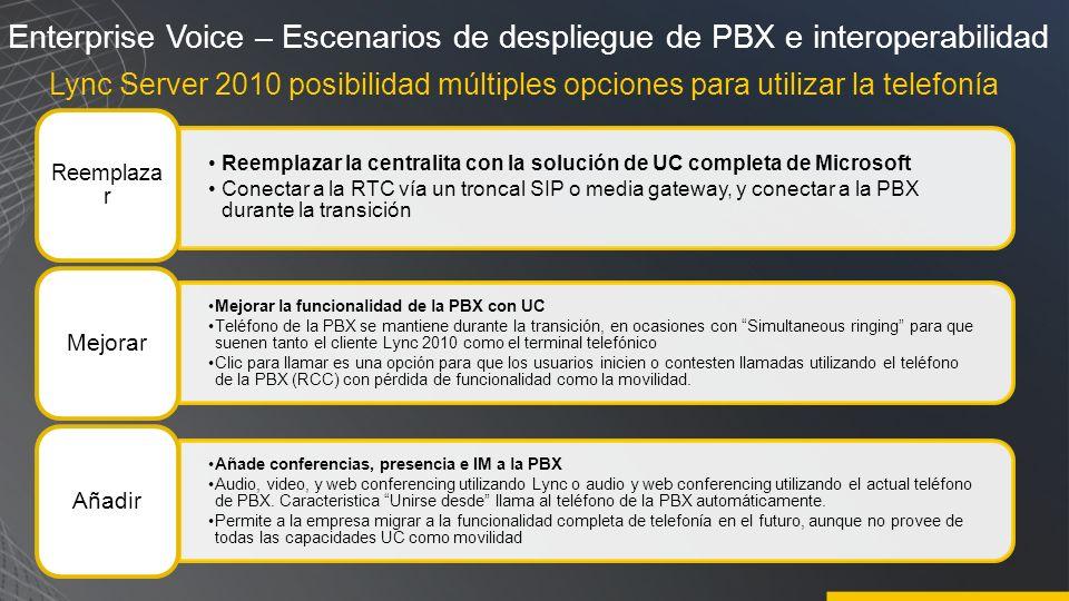 Enterprise Voice – Escenarios de despliegue de PBX e interoperabilidad Lync Server 2010 posibilidad múltiples opciones para utilizar la telefonía Reem