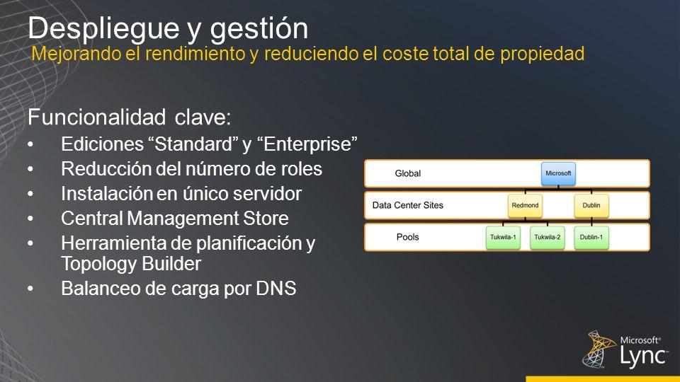 Despliegue y gestión Funcionalidad clave: Ediciones Standard y Enterprise Reducción del número de roles Instalación en único servidor Central Manageme