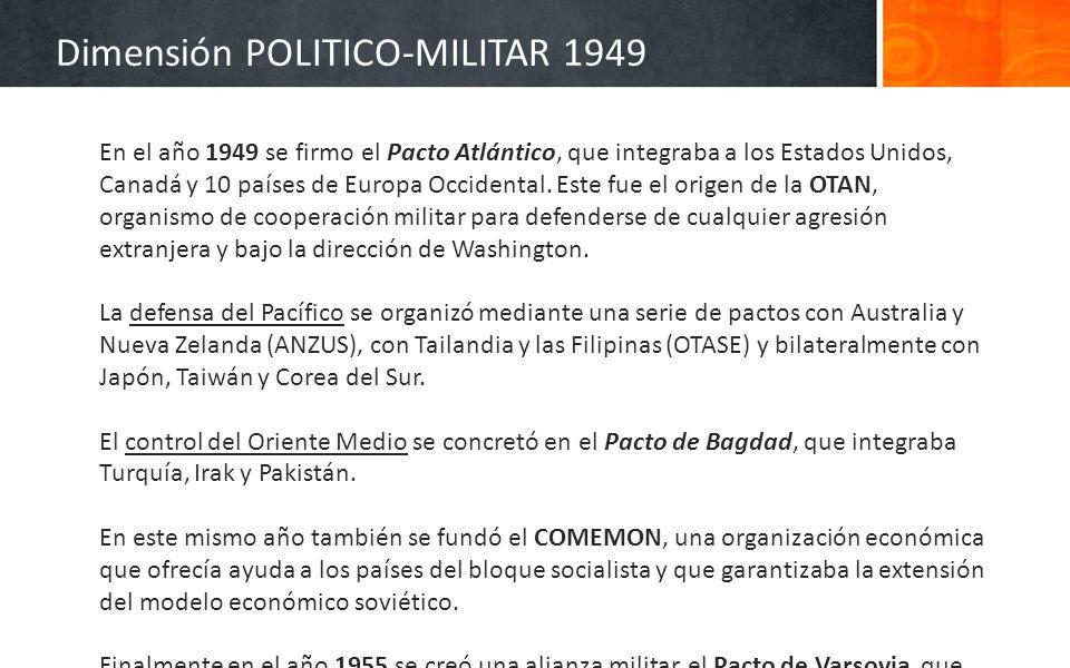 En el año 1949 se firmo el Pacto Atlántico, que integraba a los Estados Unidos, Canadá y 10 países de Europa Occidental. Este fue el origen de la OTAN