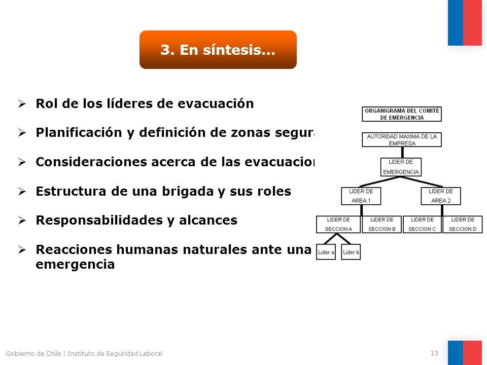 Gobierno de Chile   Instituto de Seguridad Laboral 13 3. En síntesis… Rol de los líderes de evacuación Planificación y definición de zonas seguras Con