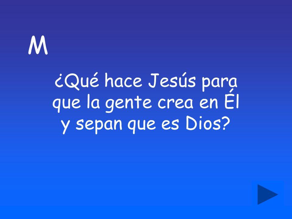 M ¿Qué hace Jesús para que la gente crea en Él y sepan que es Dios?