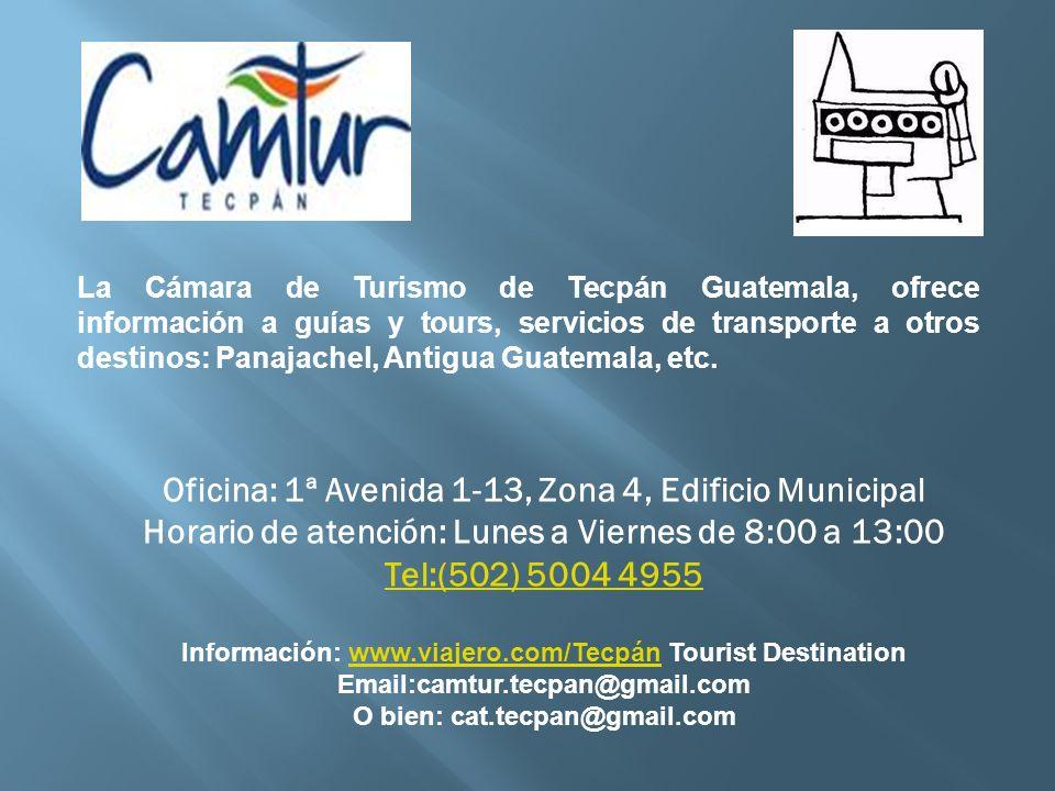 La Cámara de Turismo de Tecpán Guatemala, ofrece información a guías y tours, servicios de transporte a otros destinos: Panajachel, Antigua Guatemala,
