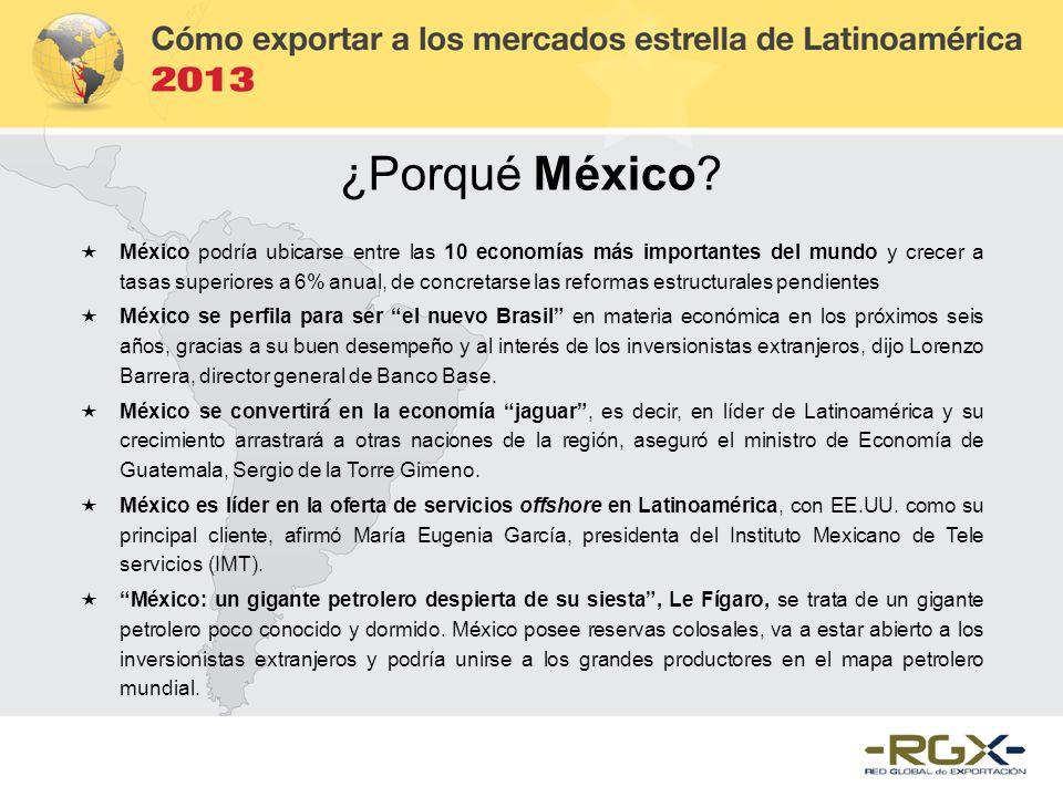 ¿Porqué México? México podría ubicarse entre las 10 economías más importantes del mundo y crecer a tasas superiores a 6% anual, de concretarse las ref