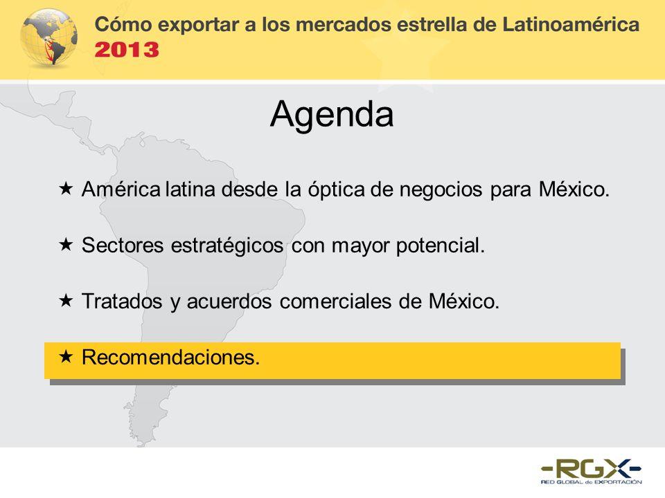 Agenda América latina desde la óptica de negocios para México. Sectores estratégicos con mayor potencial. Tratados y acuerdos comerciales de México. R