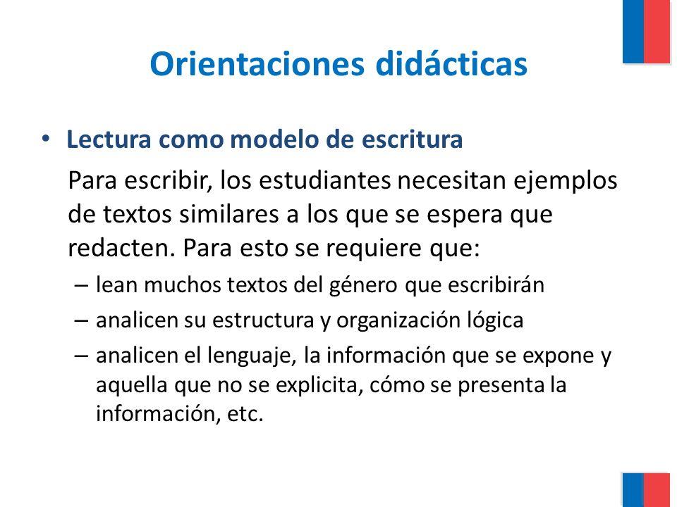 Orientaciones didácticas Lectura como modelo de escritura Para escribir, los estudiantes necesitan ejemplos de textos similares a los que se espera qu