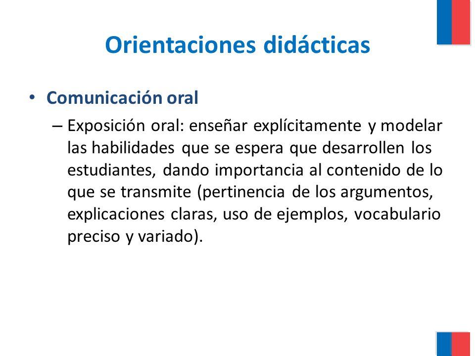 Orientaciones didácticas Comunicación oral – Exposición oral: enseñar explícitamente y modelar las habilidades que se espera que desarrollen los estud