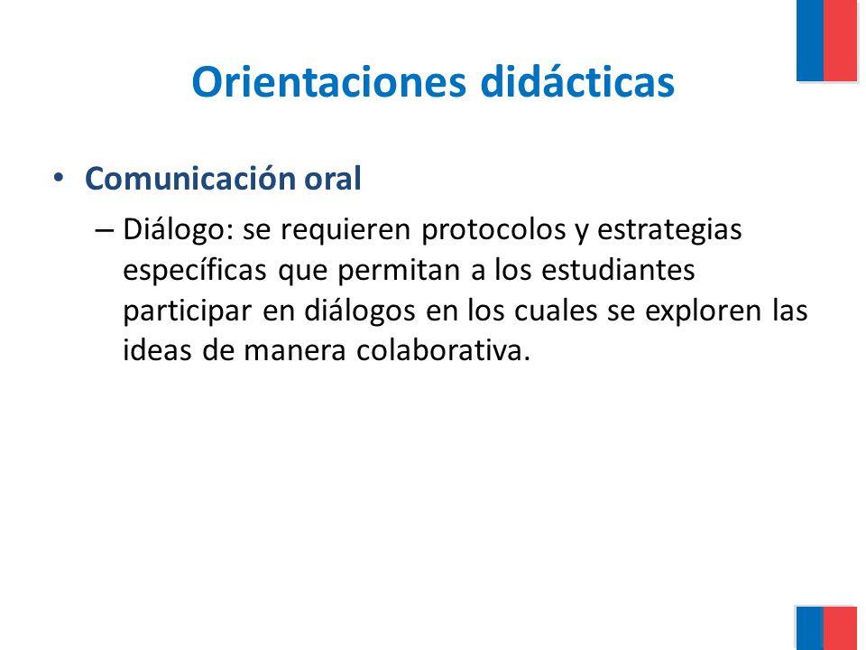 Orientaciones didácticas Comunicación oral – Diálogo: se requieren protocolos y estrategias específicas que permitan a los estudiantes participar en d