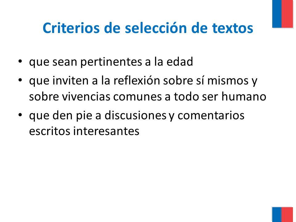 Criterios de selección de textos que sean pertinentes a la edad que inviten a la reflexión sobre sí mismos y sobre vivencias comunes a todo ser humano