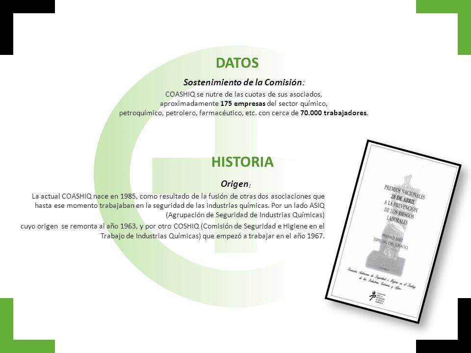 DATOS Sostenimiento de la Comisión: COASHIQ se nutre de las cuotas de sus asociados, aproximadamente 175 empresas del sector químico, petroquímico, pe