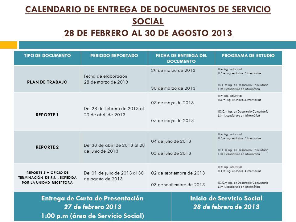 CALENDARIO DE ENTREGA DE DOCUMENTOS DE SERVICIO SOCIAL 28 DE FEBRERO AL 30 DE AGOSTO 2013 TIPO DE DOCUMENTOPERIODO REPORTADOFECHA DE ENTREGA DEL DOCUM