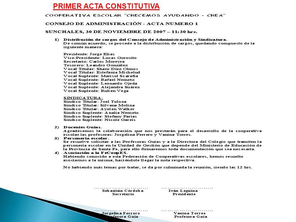 PRIMER ACTA CONSTITUTIVA