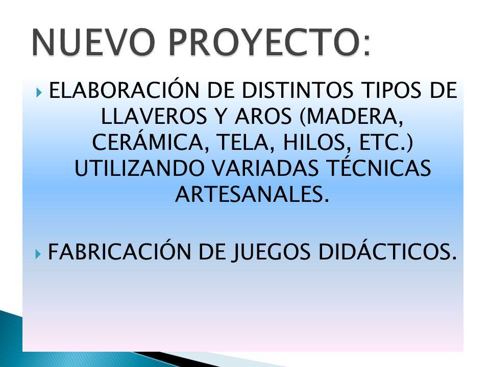 ELABORACIÓN DE DISTINTOS TIPOS DE LLAVEROS Y AROS (MADERA, CERÁMICA, TELA, HILOS, ETC.) UTILIZANDO VARIADAS TÉCNICAS ARTESANALES. FABRICACIÓN DE JUEGO