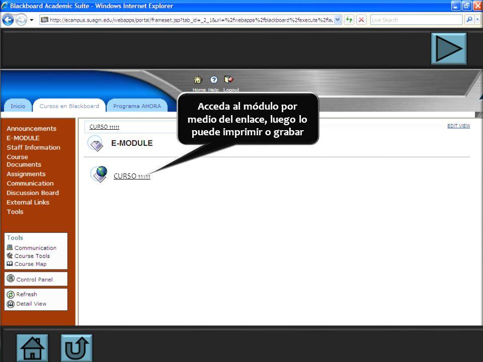En esta página podrá descargar el módulo del curso en la opción E-MODULE