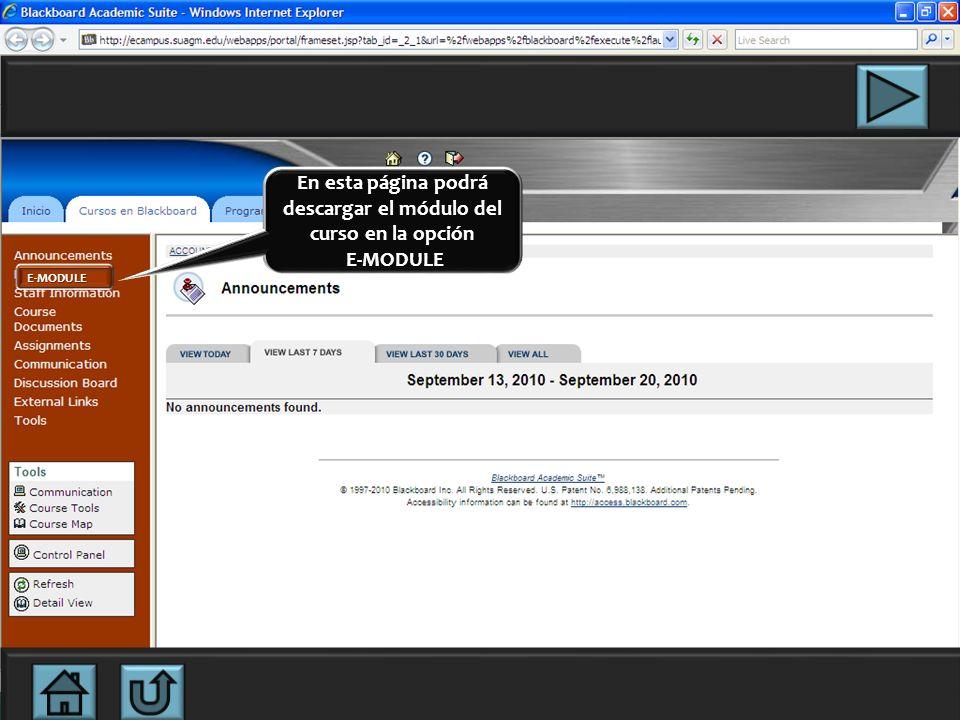En esta página podrá descargar el módulo del curso en la opción E-MODULE E-MODULE