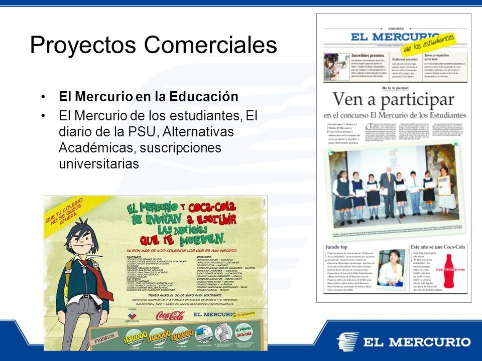 El Mercurio en la Educación El Mercurio de los estudiantes, El diario de la PSU, Alternativas Académicas, suscripciones universitarias Proyectos Comer