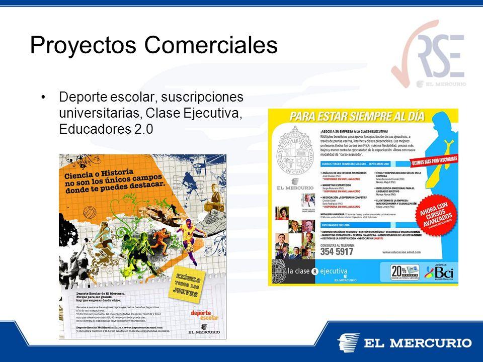 Deporte escolar, suscripciones universitarias, Clase Ejecutiva, Educadores 2.0 Proyectos Comerciales