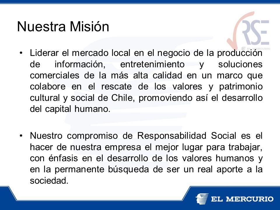 Liderar el mercado local en el negocio de la producción de información, entretenimiento y soluciones comerciales de la más alta calidad en un marco que colabore en el rescate de los valores y patrimonio cultural y social de Chile, promoviendo así el desarrollo del capital humano.