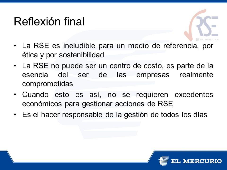 Reflexión final La RSE es ineludible para un medio de referencia, por ética y por sostenibilidad La RSE no puede ser un centro de costo, es parte de l