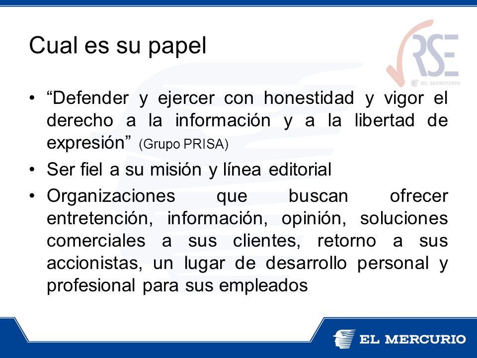 Cual es su papel Defender y ejercer con honestidad y vigor el derecho a la información y a la libertad de expresión (Grupo PRISA) Ser fiel a su misión