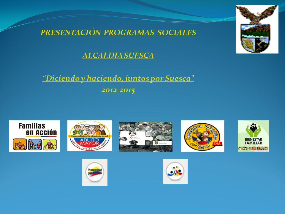 PRESENTACIÓN PROGRAMAS SOCIALES ALCALDIA SUESCA Diciendo y haciendo, juntos por Suesca 2012-2015