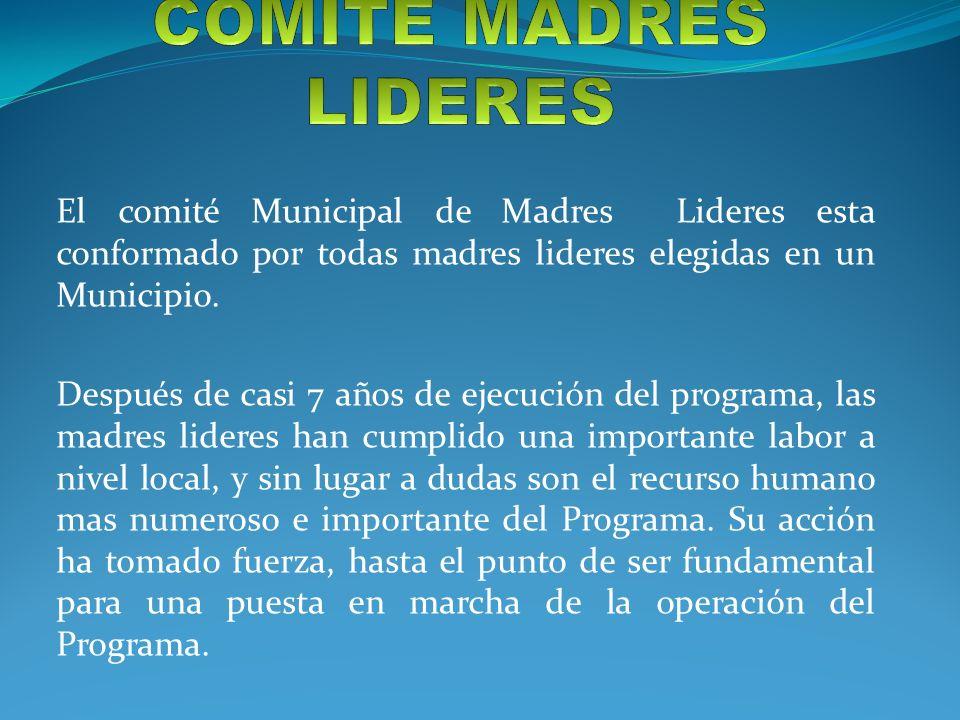 El comité Municipal de Madres Lideres esta conformado por todas madres lideres elegidas en un Municipio. Después de casi 7 años de ejecución del progr