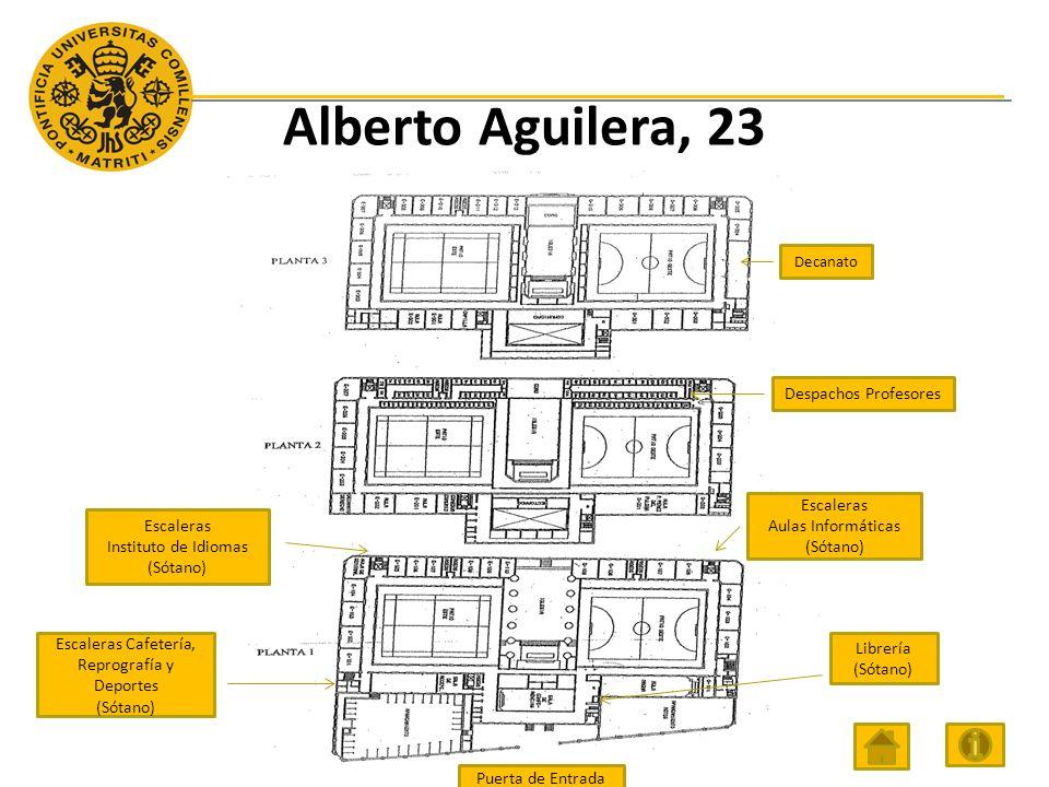 Alberto Aguilera, 23 Decanato Escaleras Aulas Informáticas (Sótano) Escaleras Cafetería, Reprografía y Deportes (Sótano) Despachos Profesores Puerta de Entrada Escaleras Instituto de Idiomas (Sótano) Librería (Sótano)