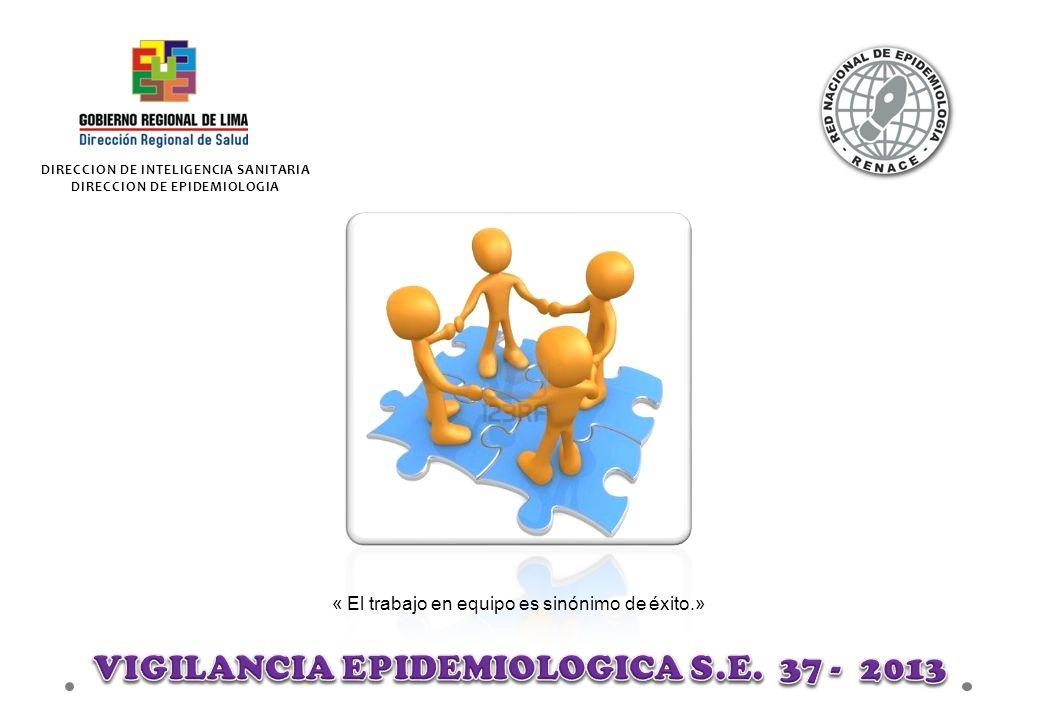 DIRECCION DE INTELIGENCIA SANITARIA DIRECCION DE EPIDEMIOLOGIA « El trabajo en equipo es sinónimo de éxito.»