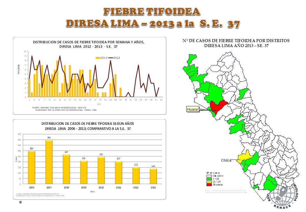 N° DE CASOS DE FIEBRE TIFOIDEA POR DISTRITOS DIRESA LIMA AÑO 2013 – SE. 37
